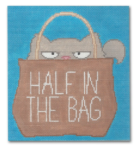 click here to view larger image of Half In The Bag - Cat (hand painted canvases)