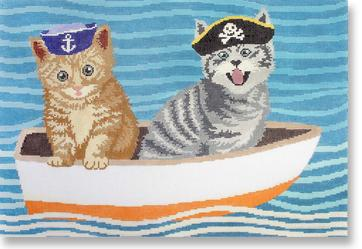 click here to view larger image of Puss In Boat (hand painted canvases)