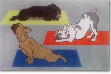 click here to view larger image of Yoga Dogs (hand painted canvases)