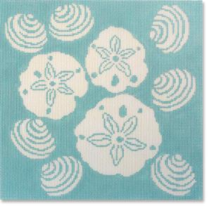 click here to view larger image of Shell Toss - Aqua (hand painted canvases)
