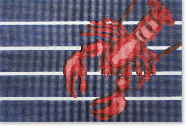 click here to view larger image of Lobster On Blue/White Stripes (hand painted canvases)