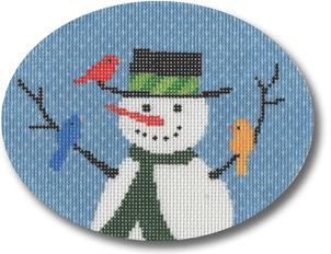 click here to view larger image of Snowman With Birds Ornament (hand painted canvases)