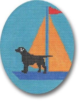 click here to view larger image of Black Lab - Yellow Sail Ornament (hand painted canvases)
