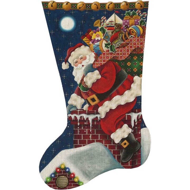 click here to view larger image of Christmas Eve Stocking - 18ct - Right Facing Toe (hand painted canvases)