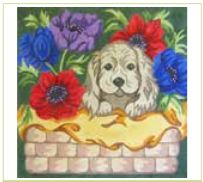 click here to view larger image of Puppy In Flower Basket (hand painted canvases)