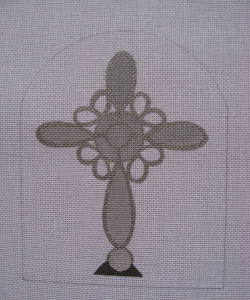 click here to view larger image of Mercury Looped Cross (hand painted canvases)