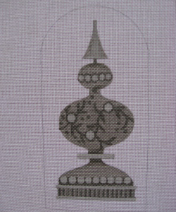 click here to view larger image of Mercury Vined Finial (hand painted canvases)