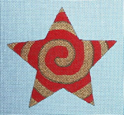 click here to view larger image of Red/Gold Spiral Star (hand painted canvases)