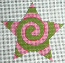 click here to view larger image of Pink/Green Spiral Star (hand painted canvases)
