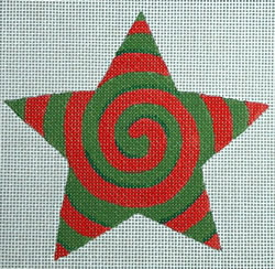 click here to view larger image of Red/Green Spiral Star (hand painted canvases)