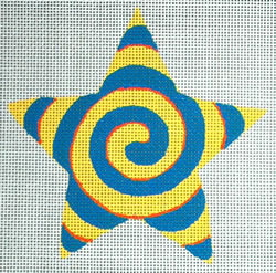 click here to view larger image of Yellow/Turquoise Spiral Star (hand painted canvases)