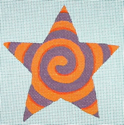 click here to view larger image of Purple/Orange Spiral Star (hand painted canvases)