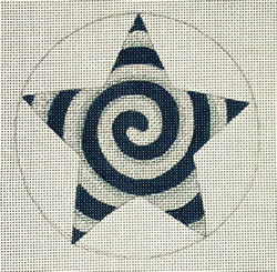 click here to view larger image of Navy/Silver Spiral Star (hand painted canvases)