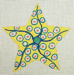 click here to view larger image of White/Yellow Starfish (hand painted canvases)