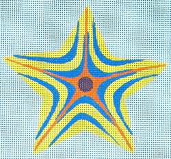 click here to view larger image of Yellow/Blue Striped Star (hand painted canvases)