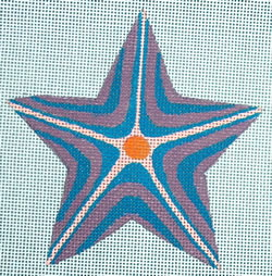 click here to view larger image of Purple/Turquoise Striped Star (hand painted canvases)