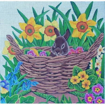 click here to view larger image of Bunny In Basket (hand painted canvases)