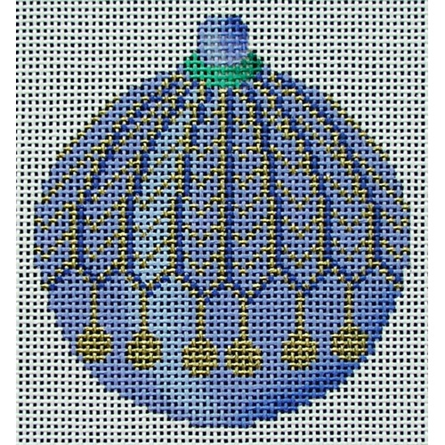 click here to view larger image of Blue Round Ornament (hand painted canvases)