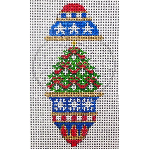 click here to view larger image of Red White Blue Ornament (hand painted canvases)