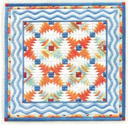 Tropical Pineapple Quilt counted canvas work
