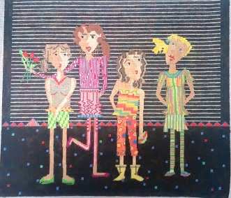 click here to view larger image of 4 Girls (hand painted canvases)