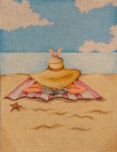 Girl Reading On Beach hand painted canvases