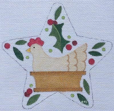 click here to view larger image of French Hens Star (hand painted canvases)
