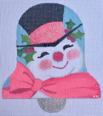 click here to view larger image of Mod Pink Snowman Bell (hand painted canvases)