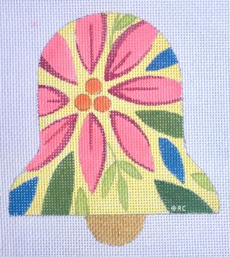 click here to view larger image of Mod Pink Poinsettia Bell (hand painted canvases)