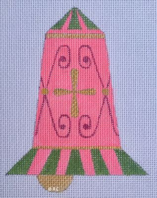 click here to view larger image of Mod Pink Bell Ornament (hand painted canvases)