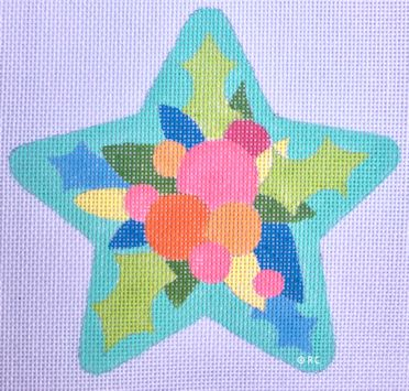 click here to view larger image of Teal Star (hand painted canvases)