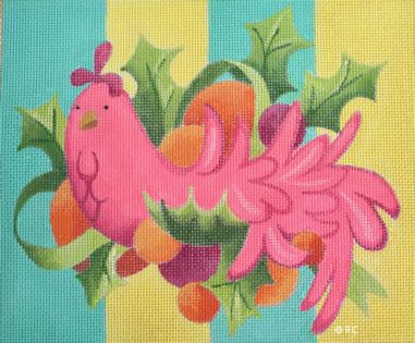 click here to view larger image of Mod Pink Bird (hand painted canvases)