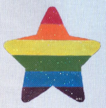 click here to view larger image of Rainbow Star (hand painted canvases)