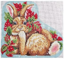 click here to view larger image of Rabbit With Poinsettia (hand painted canvases)