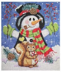 click here to view larger image of Woodland Snowman (hand painted canvases)