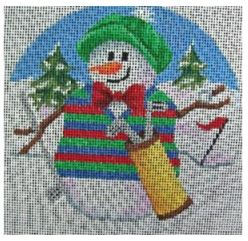click here to view larger image of Golfing Snowman Ornament (hand painted canvases)