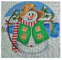 click here to view larger image of Fishing Snowman Ornament (hand painted canvases)