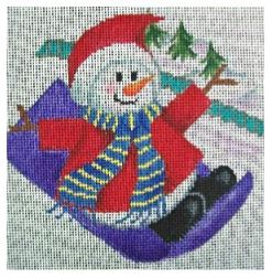 click here to view larger image of Sledding Snowman Ornament (hand painted canvases)