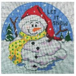 click here to view larger image of Let It Snow Snowman Ornament (hand painted canvases)