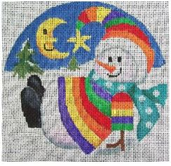 click here to view larger image of Sun/Moon Snowman Ornament (hand painted canvases)