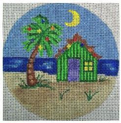 click here to view larger image of Tropical Christmas Night Ornament (hand painted canvases)