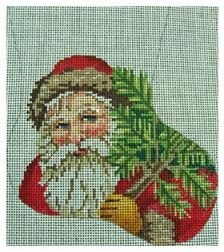 click here to view larger image of Victorian Santa Mini Stocking (hand painted canvases)