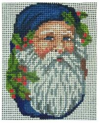click here to view larger image of Santa In Blue Ornament (hand painted canvases)