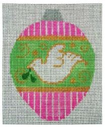 click here to view larger image of Dove Ornament (Pink/Green) (hand painted canvases)