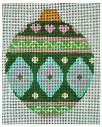 click here to view larger image of Pink and Green Ornament (hand painted canvases)