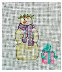 click here to view larger image of Snowman With Present Mini Sock (hand painted canvases)
