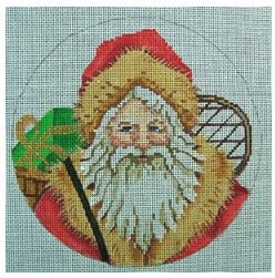 click here to view larger image of Snowshoe Santa Ornament (hand painted canvases)