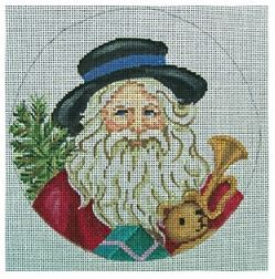 click here to view larger image of Santa With Blue Banded Hat and Toys Ornament (hand painted canvases)
