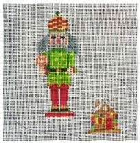 click here to view larger image of Nutcracker With Gingerbread House Mini Sock (hand painted canvases)