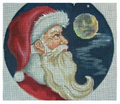 click here to view larger image of Santa and Moon Ornament (hand painted canvases)